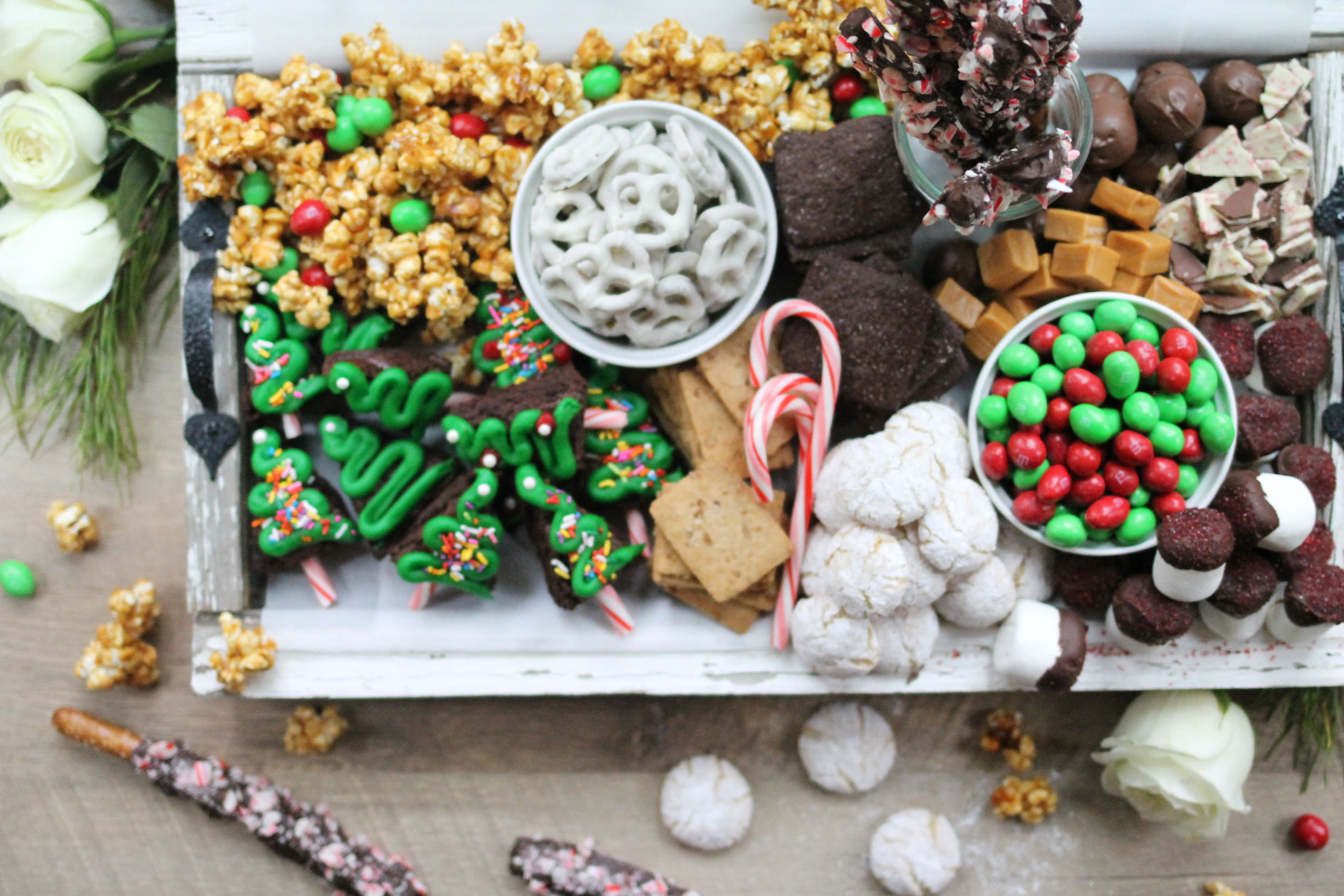 How to make the ultimate dessert snack board for the holidays; a.k.a., a sweet charcuterie spread. | glitterinc.com | @glitterinc