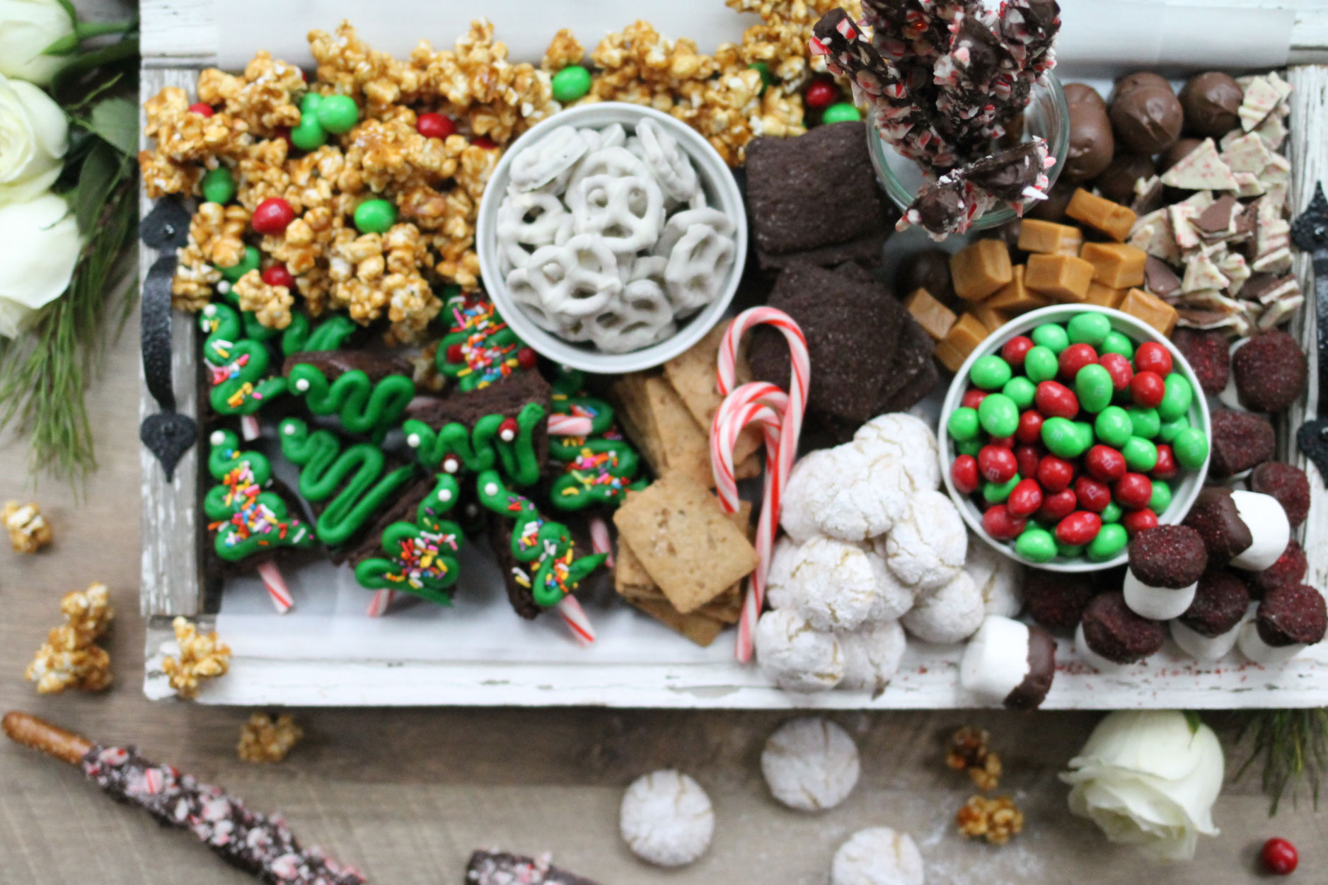 How to make the ultimate dessert snack board for the holidays; a.k.a., a sweet charcuterie spread. | glitterinc.com | @glitterinc - How to Make a Holiday Dessert Charcuterie Board by North Carolina foodie blogger Glitter, Inc.