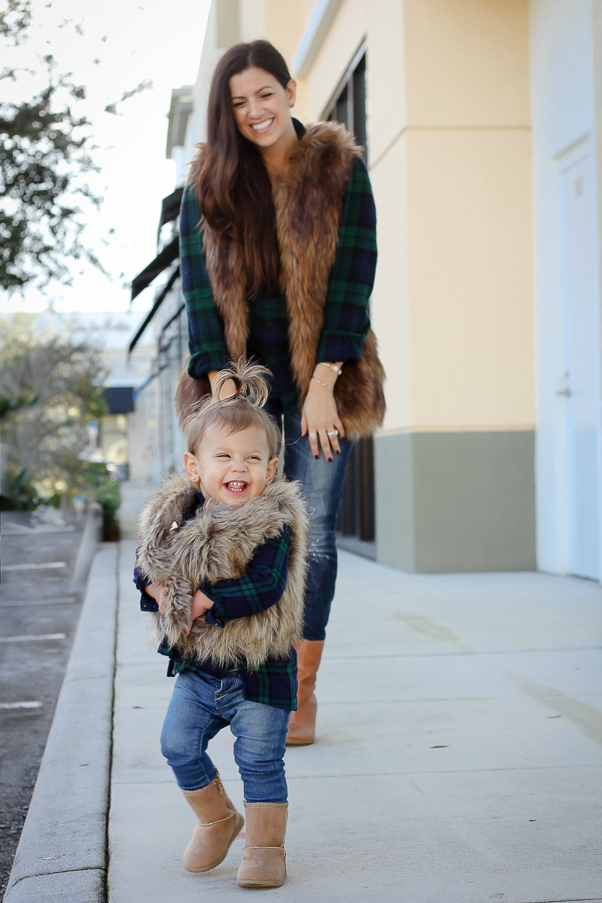 Things I Swore I Wouldn't Do As A Mom That I Totally Do // mother daughter matching faux fur vest