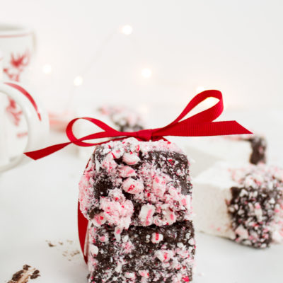 Homemade Chocolate Covered Marshmallows with Crushed Peppermint