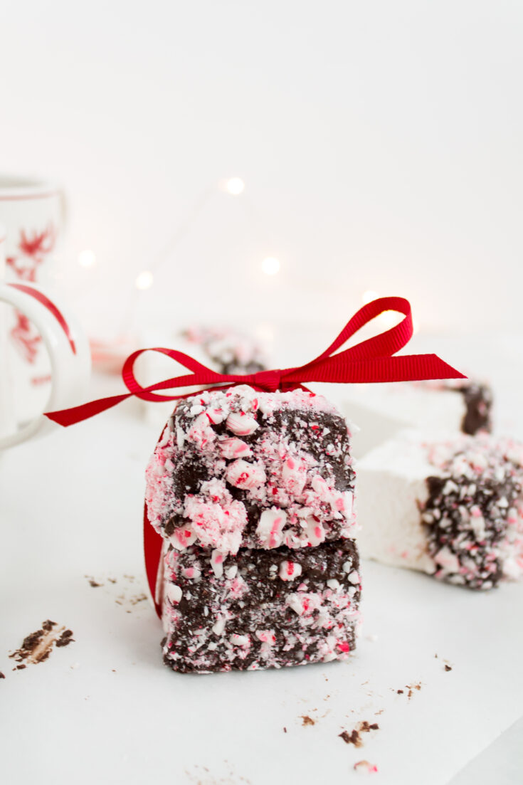 Chocolate Covered Marshmallows with Crushed Peppermint