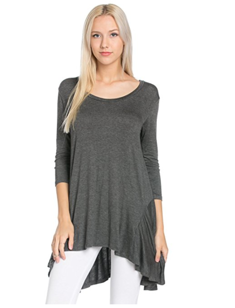 A great tunic is the perfect go-anywhere look, and all of these are under $30 and available on Amazon. Tunics and leggings = Mom Uniform 101. | glitterinc.com | @glitterinc // 3/4 Sleeve Comfy Loose Fit Long Tunic Top - 18 Perfect Go-Anywhere Cute Tunics Under $30 on Amazon by popular North Carolina style blogger Glitter, Inc.