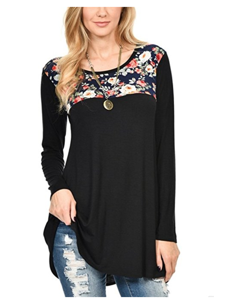 A great tunic is the perfect go-anywhere look, and all of these are under $30 and available on Amazon. Tunics and leggings = Mom Uniform 101. | glitterinc.com | @glitterinc // Floral Print Patchwork Long Sleeve Scoop Neck Swing T Shirt Tunic - 18 Perfect Go-Anywhere Cute Tunics Under $30 on Amazon by popular North Carolina style blogger Glitter, Inc.