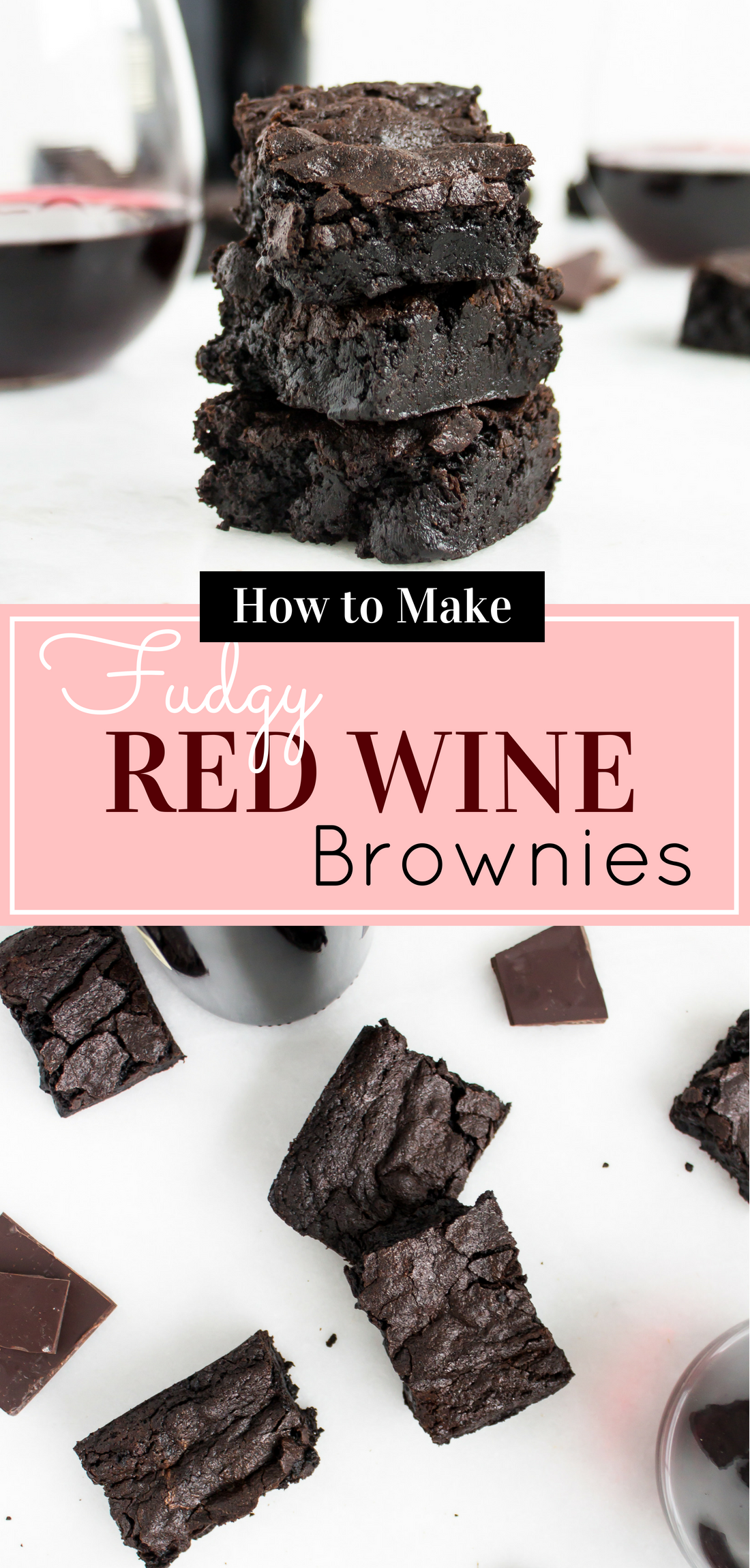 If you love brownies, and you love wine - because, who doesn't love BOTH of those things? - you are going to love, love, love these fudgy red wine brownies. #brownies #redwinebrownies #dessert #boozybrownies #brownierecipe | glitterinc.com | @glitterinc