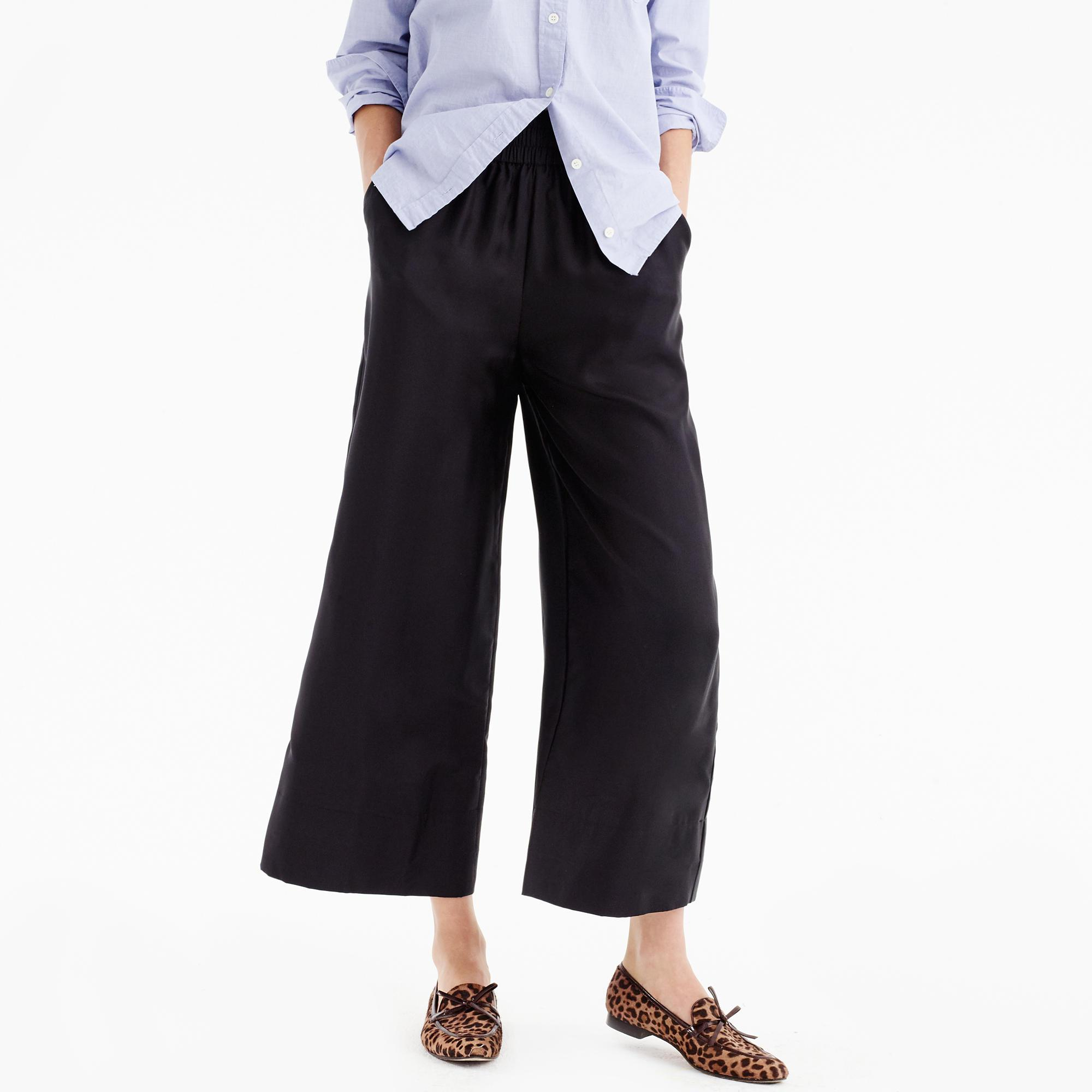 J.Crew Cropped Silk Pull-on Pant