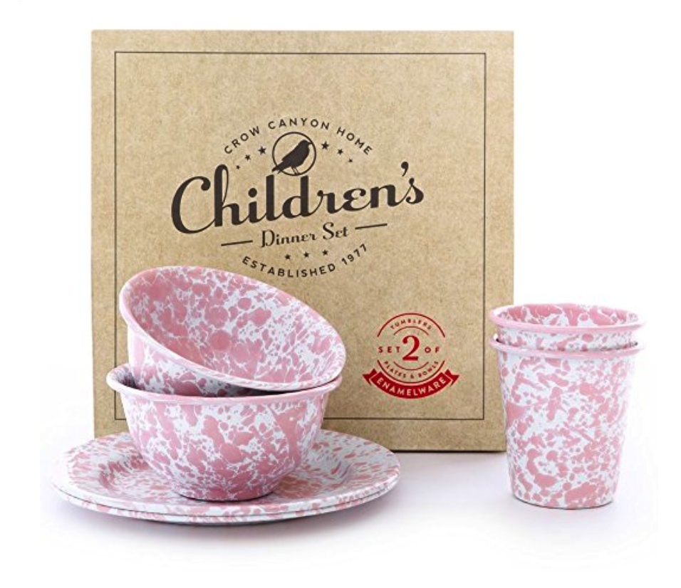 Crow Canyon Enamelware 6 Piece Children's Dinnerware Set in Pink Marble - Weekly Picks by North Carolina style blogger Glitter, Inc.