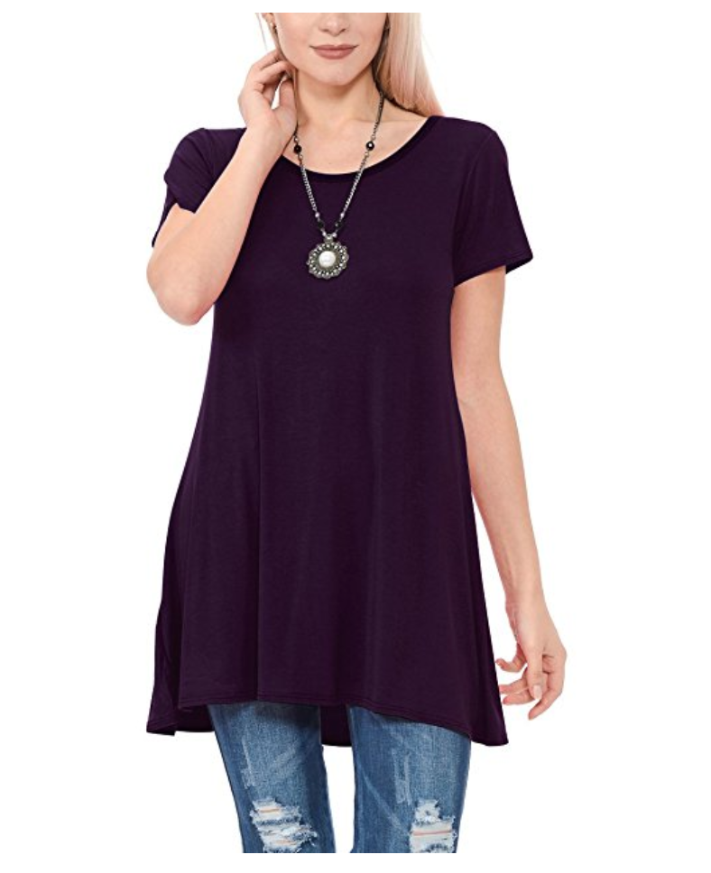A great tunic is the perfect go-anywhere look, and all of these are under $30 and available on Amazon. Tunics and leggings = Mom Uniform 101. | glitterinc.com | @glitterinc // Tunic Short Sleeve Scoop Neck Loose Fit Casual Top - 18 Perfect Go-Anywhere Cute Tunics Under $30 on Amazon by popular North Carolina style blogger Glitter, Inc.