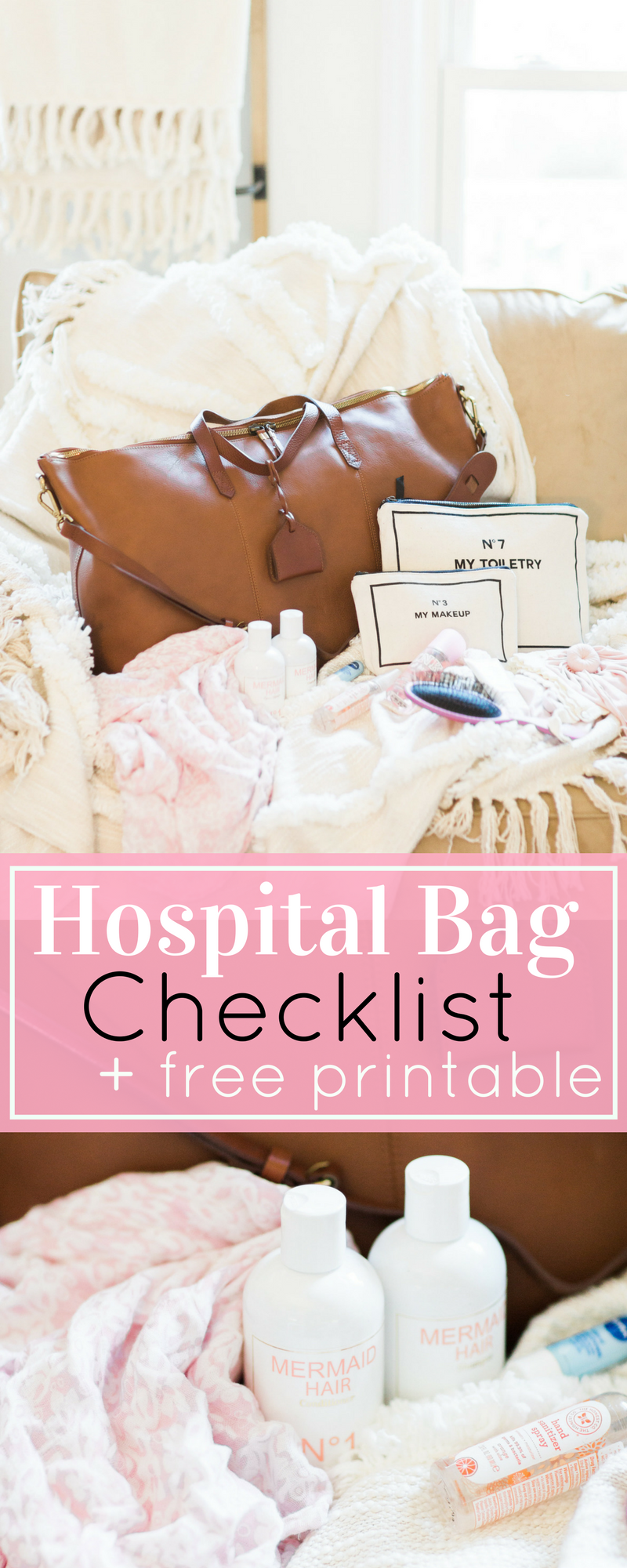 Sharing what's in my hospital bag, what you can score for free at the hospital, what I wish I would have known, and so much more. Plus, click through for the FREE Printable Essential Hospital Bag Checklist. | glitterinc.com | @glitterinc