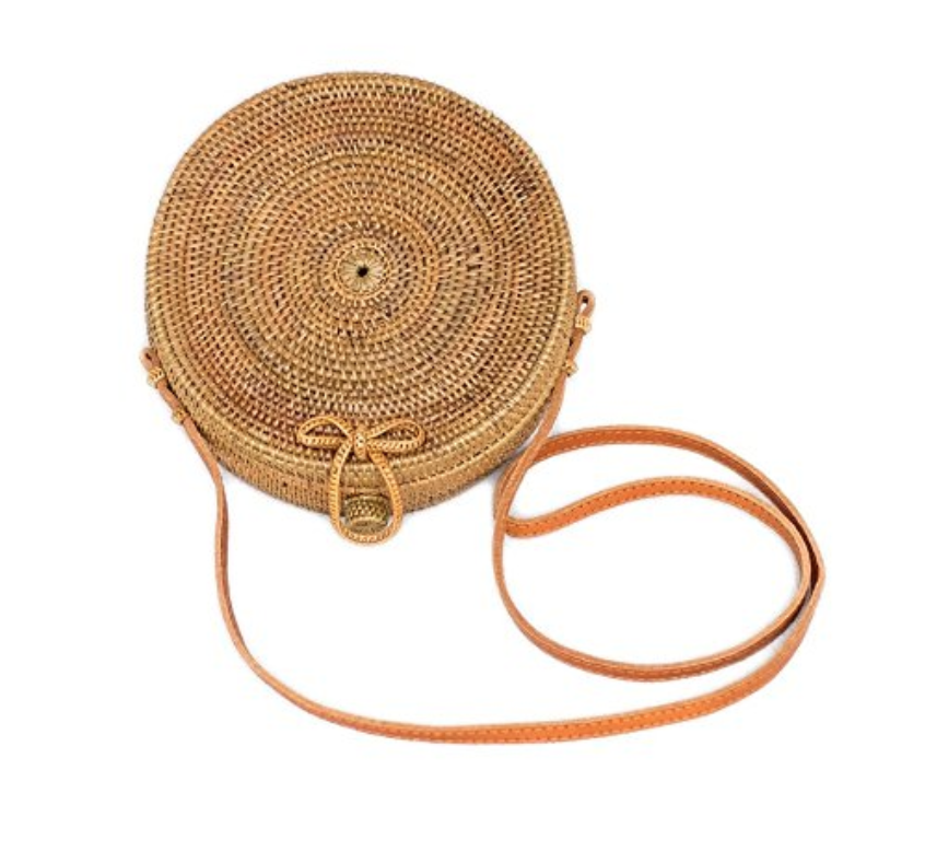 Bali Harvest Round Woven Ata Rattan Bag with Bow Clasp - Weekly Finds by popular North Carolina style blogger Glitter, Inc.