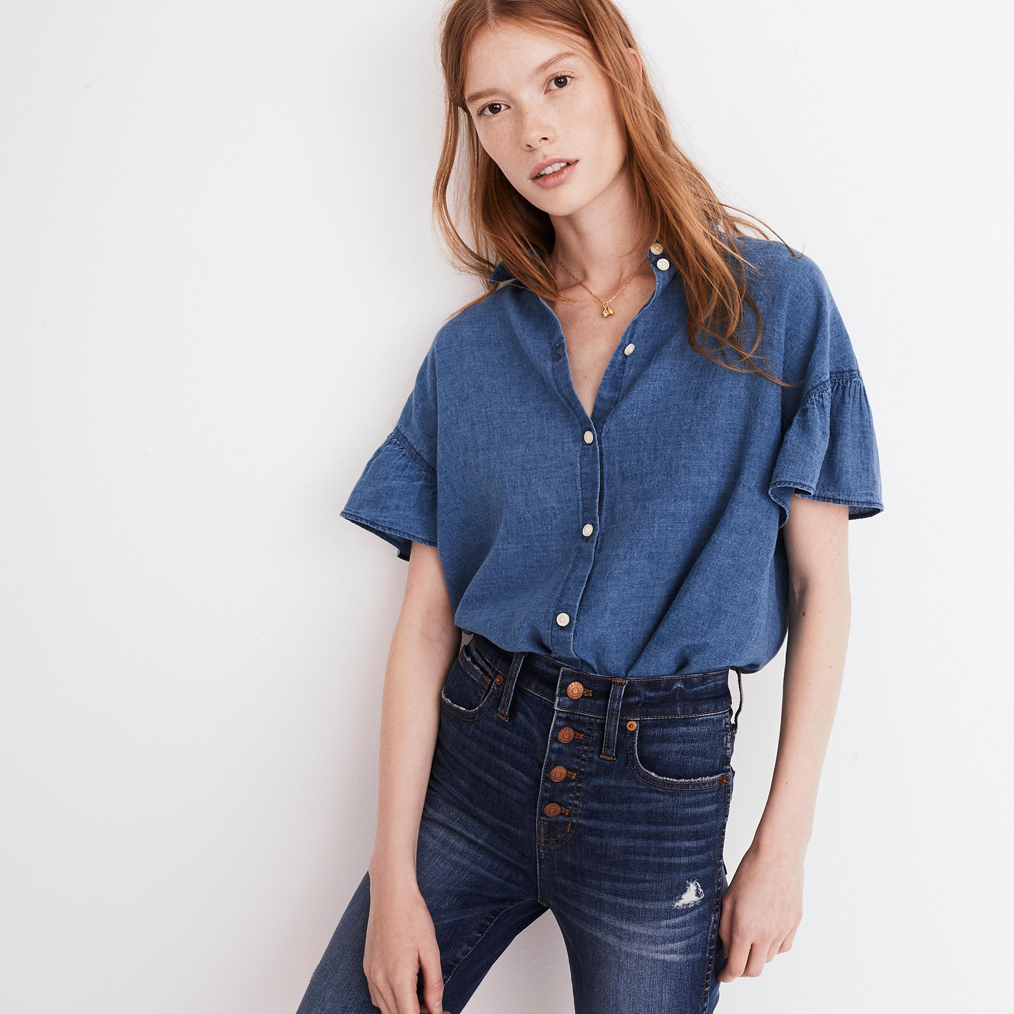 Madewell Central Ruffle-Sleeve Shirt in Indigo - Weekly Finds by popular North Carolina style blogger Glitter, Inc.