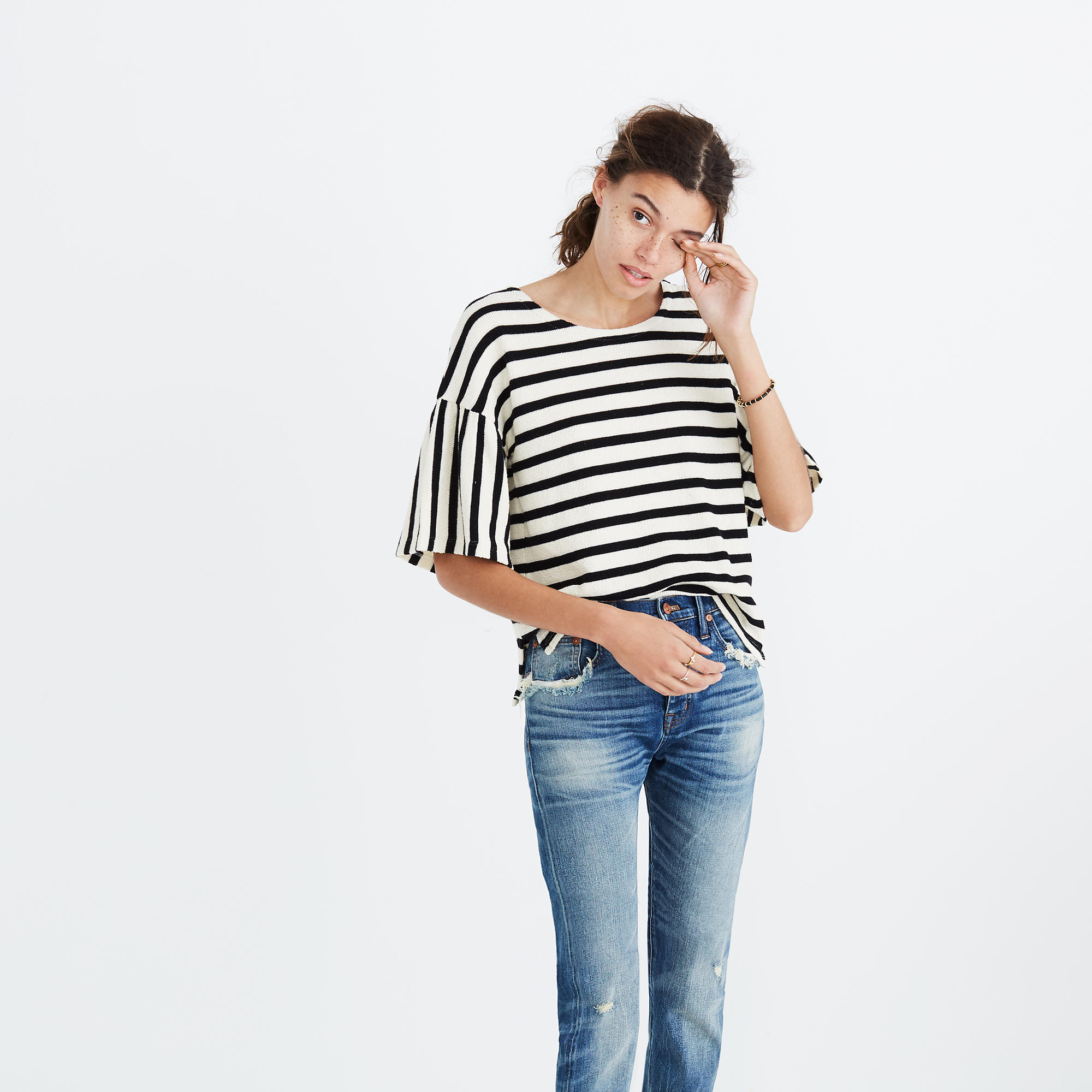 Madewell striped bell-sleeve top - Weekly Finds by popular North Carolina style blogger Glitter, Inc.