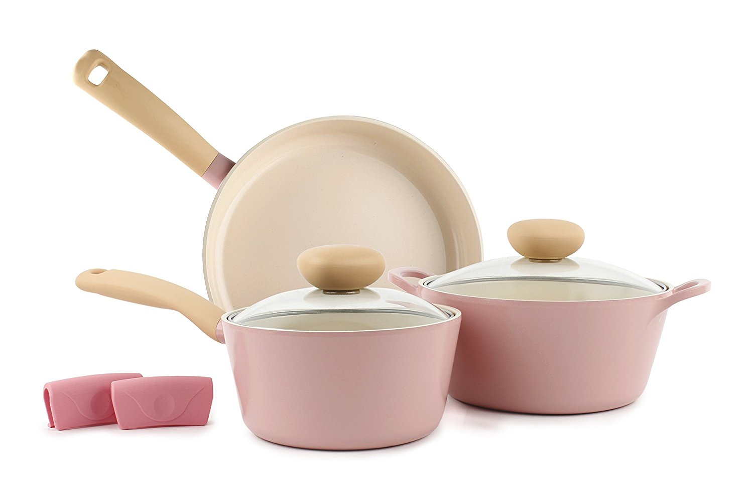 Retro 5-Piece Ceramic Non-Stick Cookware Set, Pink (How cute is this?!)