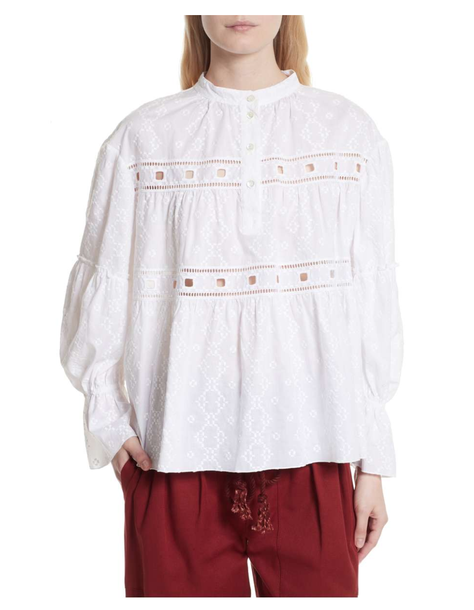 SEE BY CHLOÉ Embroidered Eyelet Blouse - Weekly Finds by popular North Carolina style blogger Glitter, Inc.
