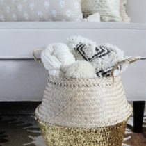 Seagrass Boho Belly Basket Tote Storage with Gold Sequins