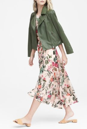 Banana Republic Botanical Print Fit-and-Flare Maxi Dress