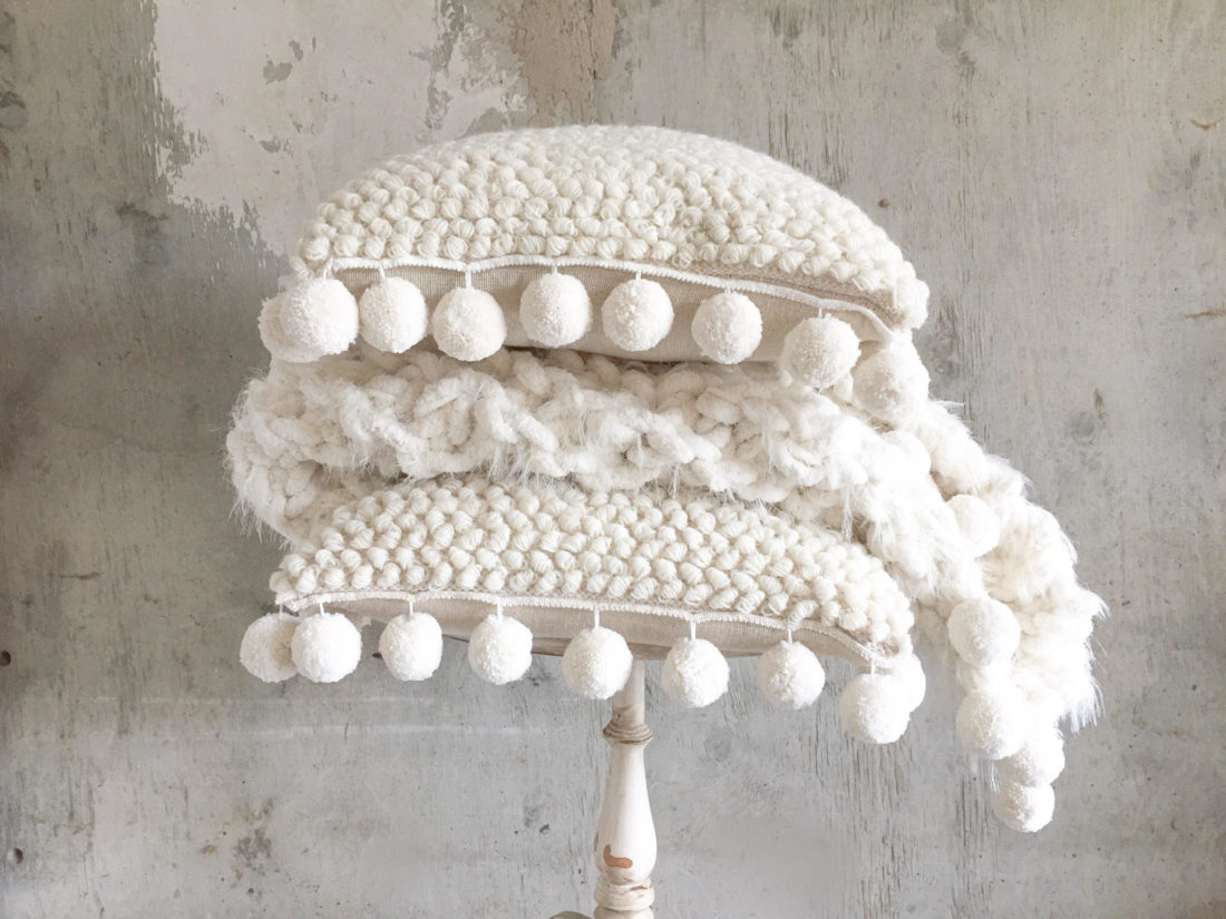 Chunky Knit Burlap Back Pom Pom Pillow Covers