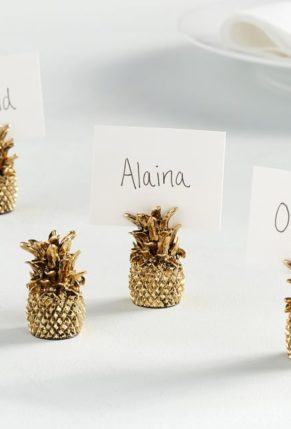 Pottery Barn Gold Pineapple Place Card Holders, Set of 4