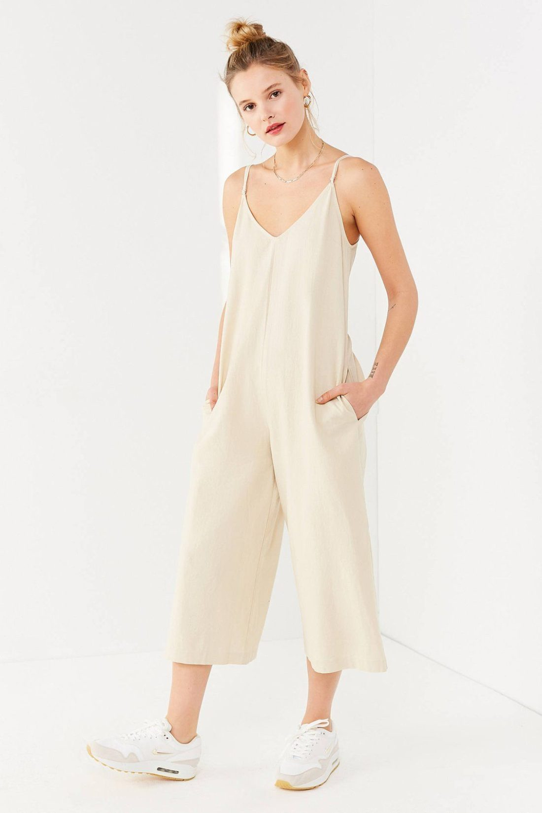 UO Shapeless Linen V-Neck Jumpsuit
