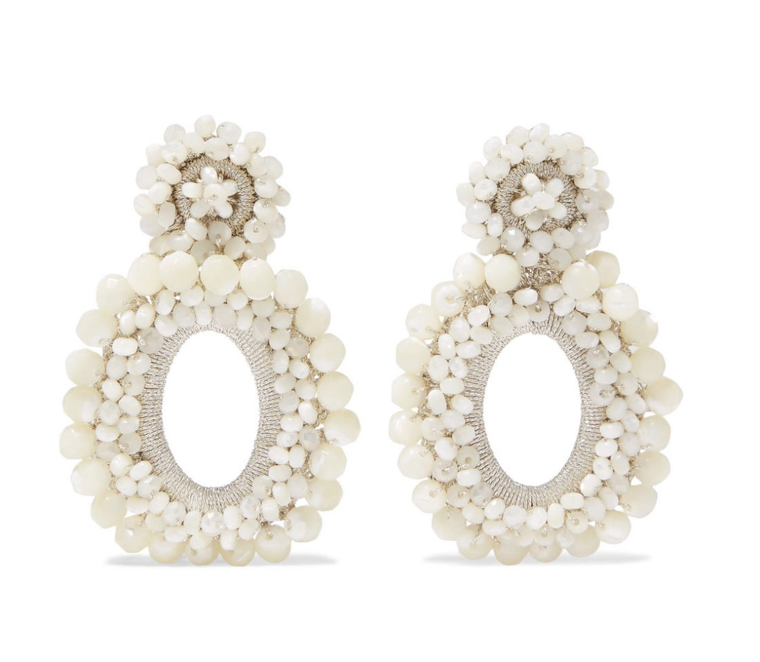 Bibi Marini Primrose Mother-of-Pearl Bead And Silk Earrings