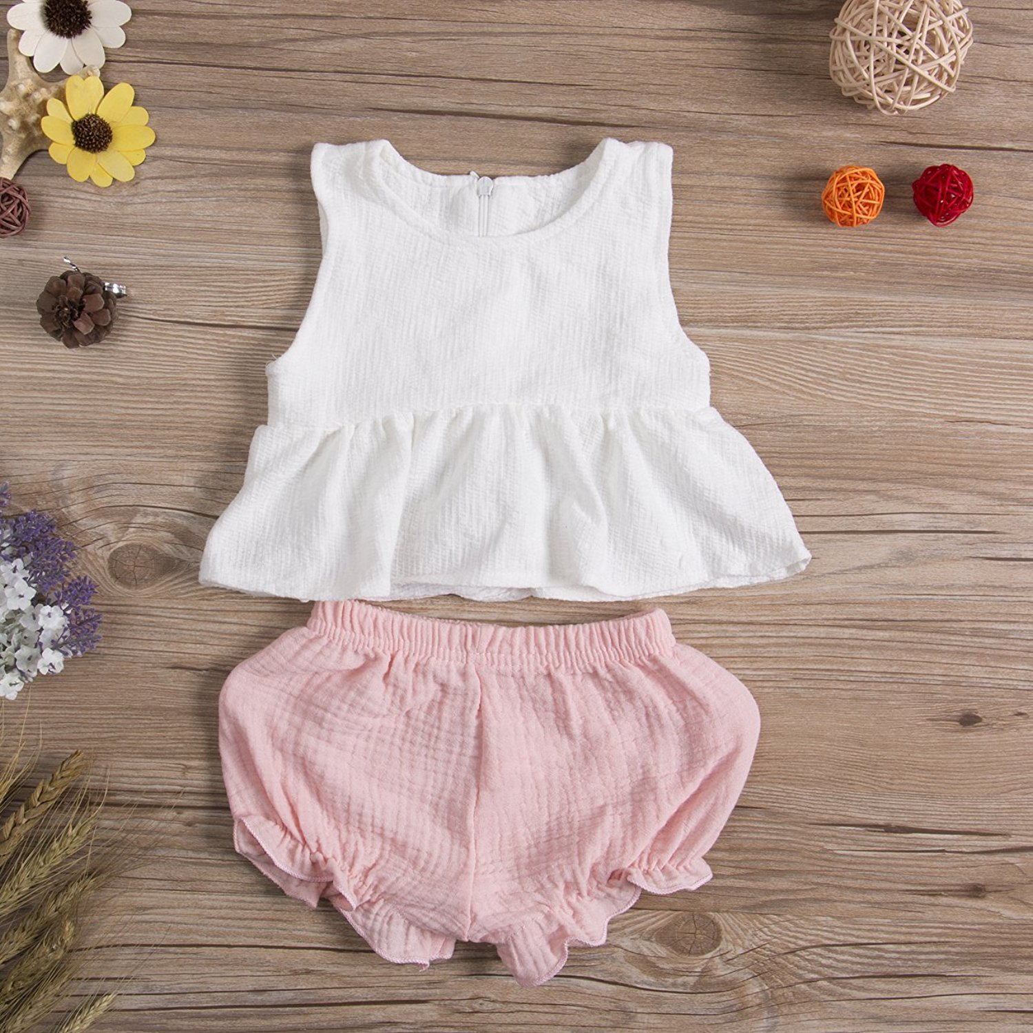 2 PC Baby Girl Tank Top + Short Pants Bloomer Set - Adorable Amazon Outfits for Baby Girls and Toddlers by popular North Carolina style blogger, Glitter, Inc.