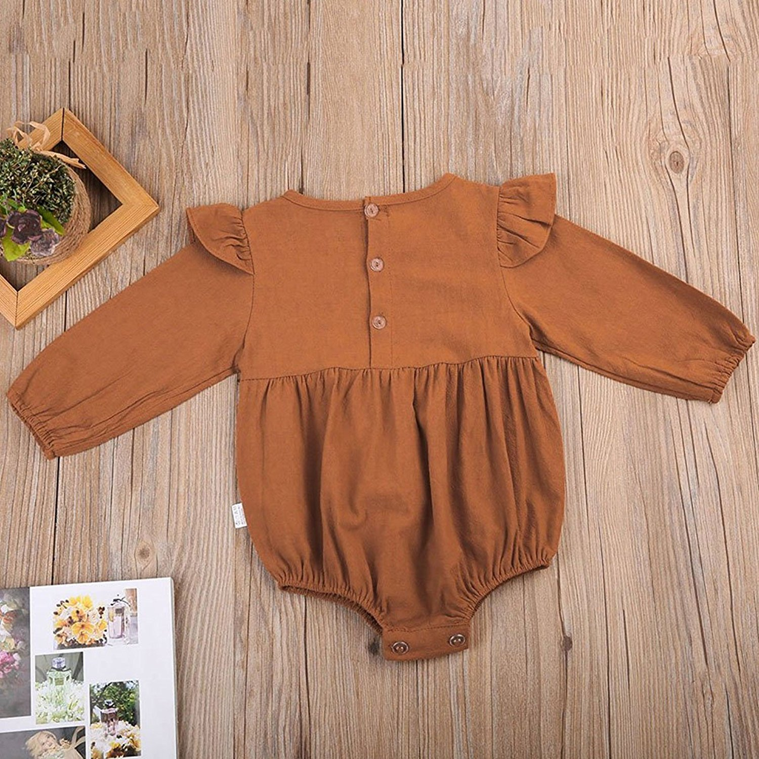 Baby Girl Long Sleeve Ruffles Romper Bodysuit
