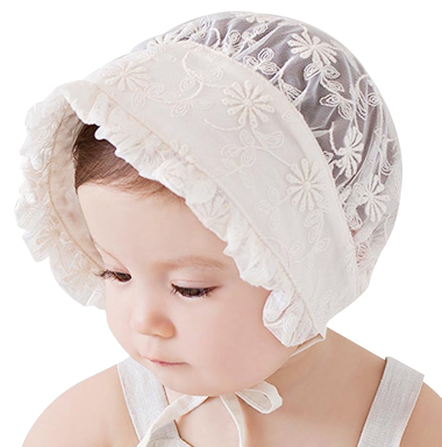 Baby Girl Bonnet Eyelet Lace Breathable Cotton Adjustable Sun Hat