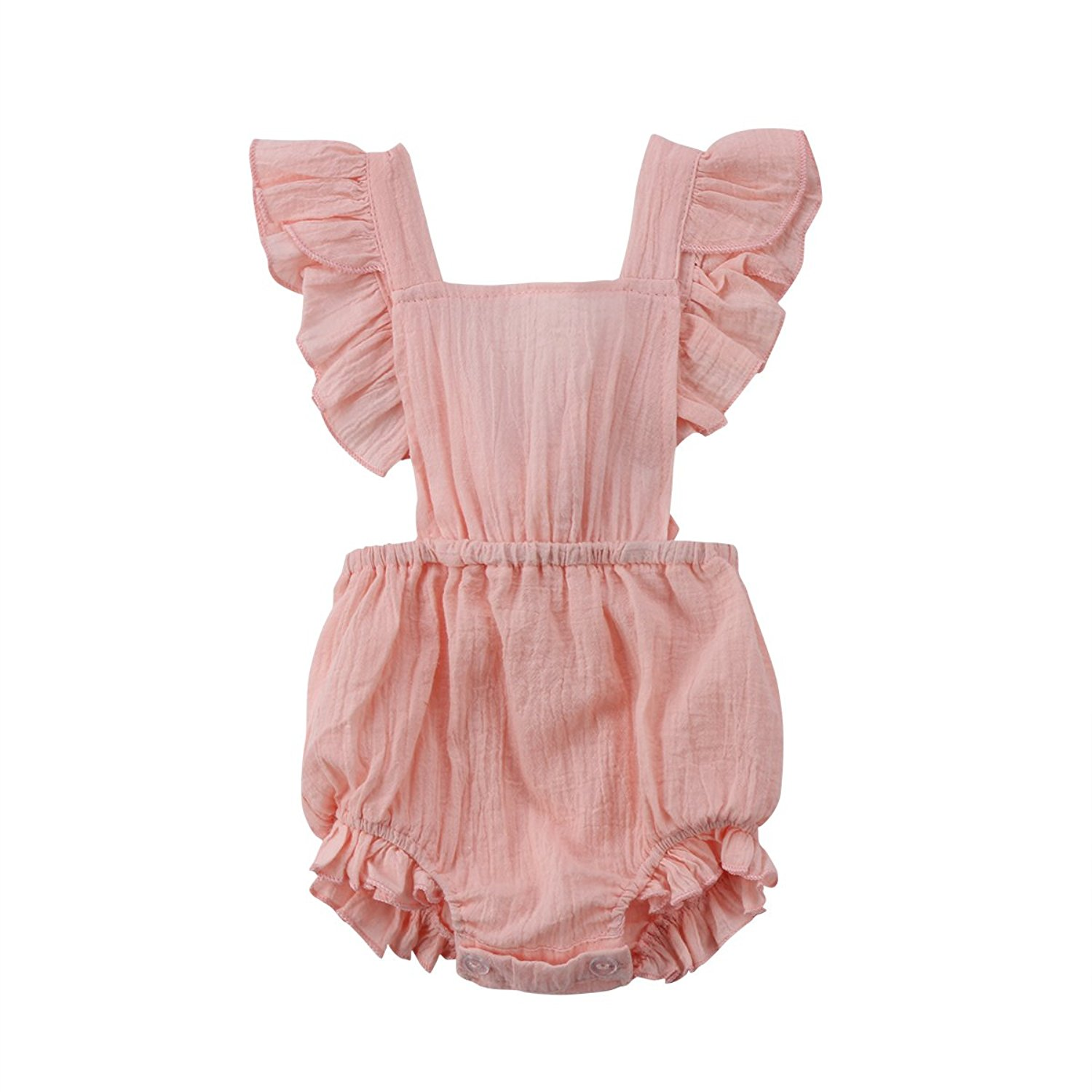 Baby Girl Butterfly Sleeve Backless Ruffle Romper - Adorable Amazon Outfits for Baby Girls and Toddlers by popular North Carolina style blogger, Glitter, Inc.