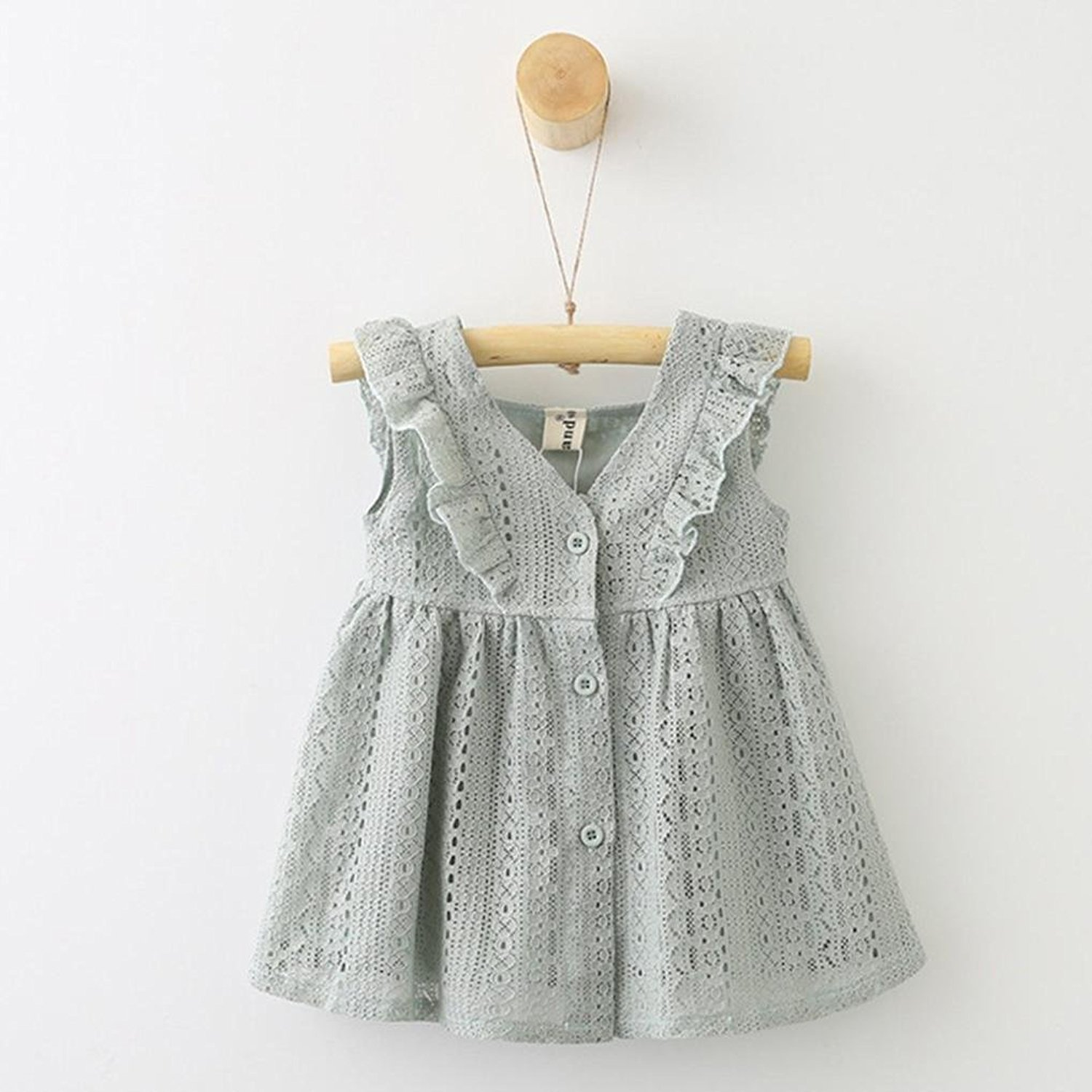 Baby Girl Lace Ruffles Princess Button Dress