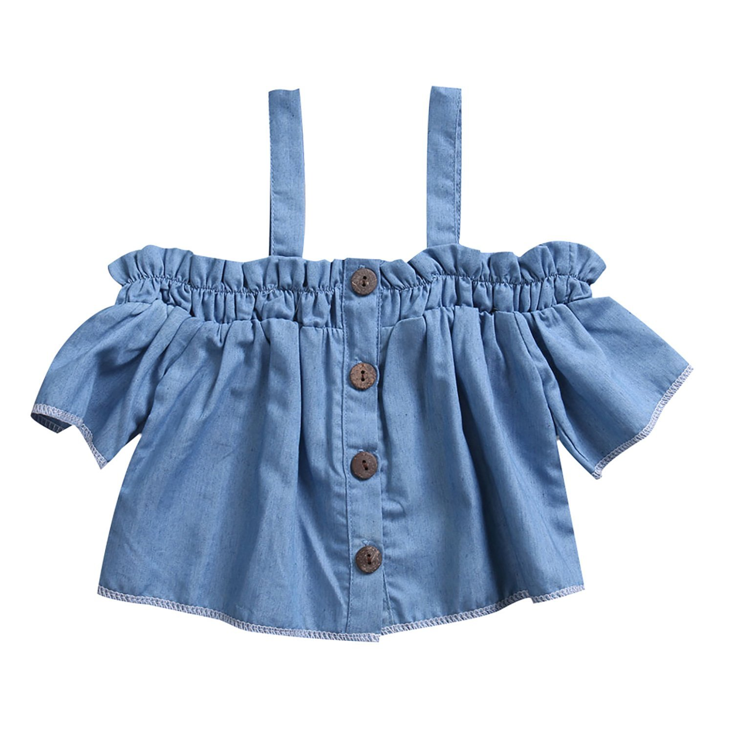 Baby Girl Short Sleeve Denim Top with Buttons
