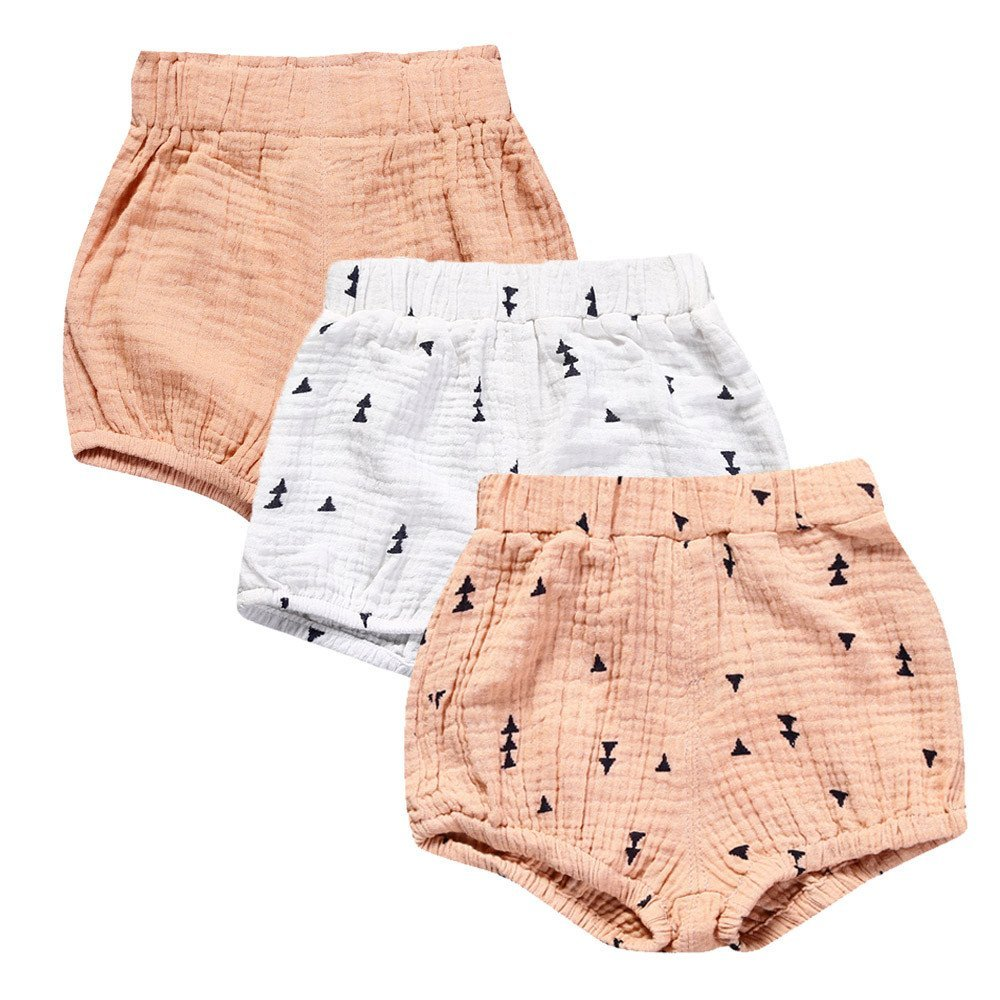 Baby Girls 3 Pack Cotton Linen Blend Cute Bloomer Shorts