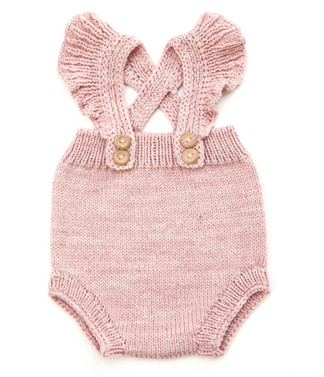 Baby Girls Knitted Romper Cross Bandage Ruffles Jumpsuit
