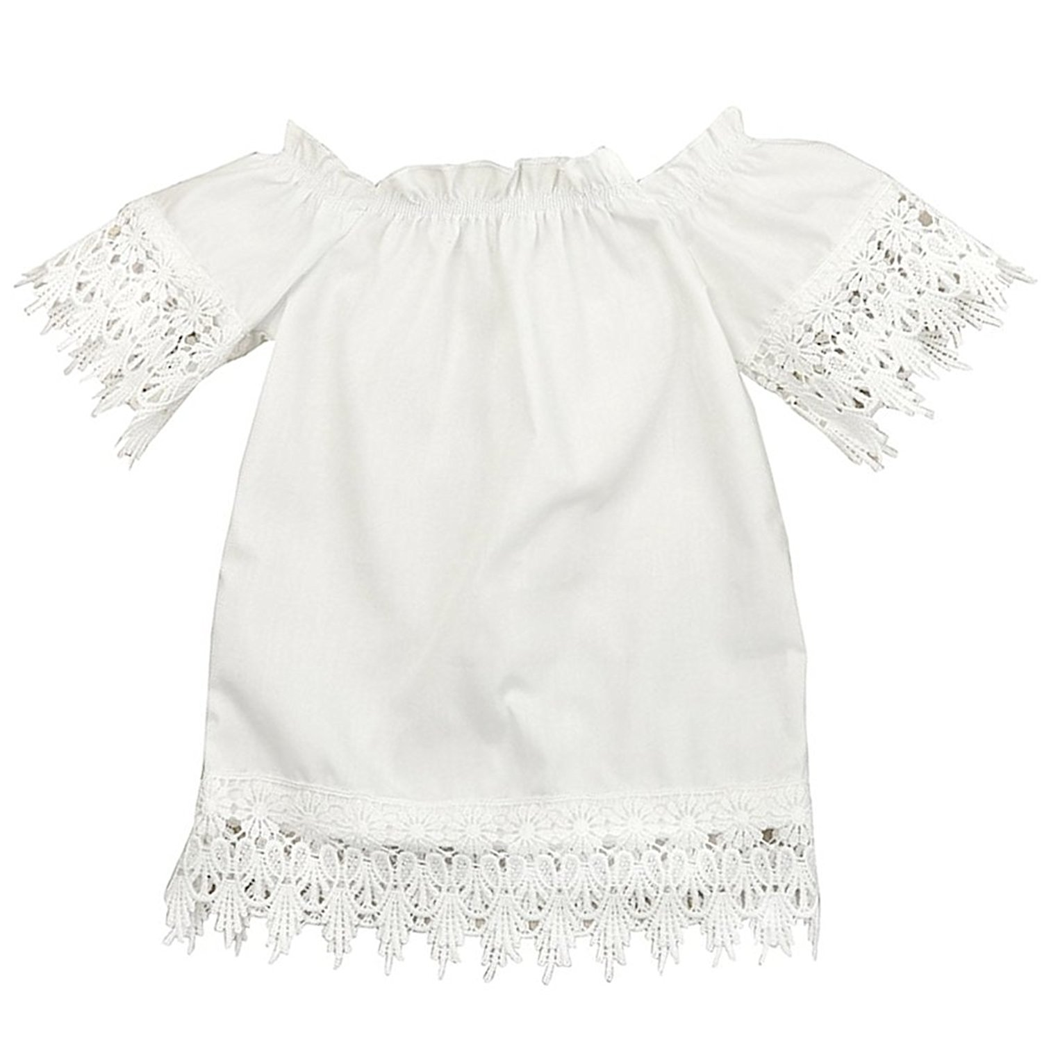 Baby Girls White Off Shoulder Lace Dress