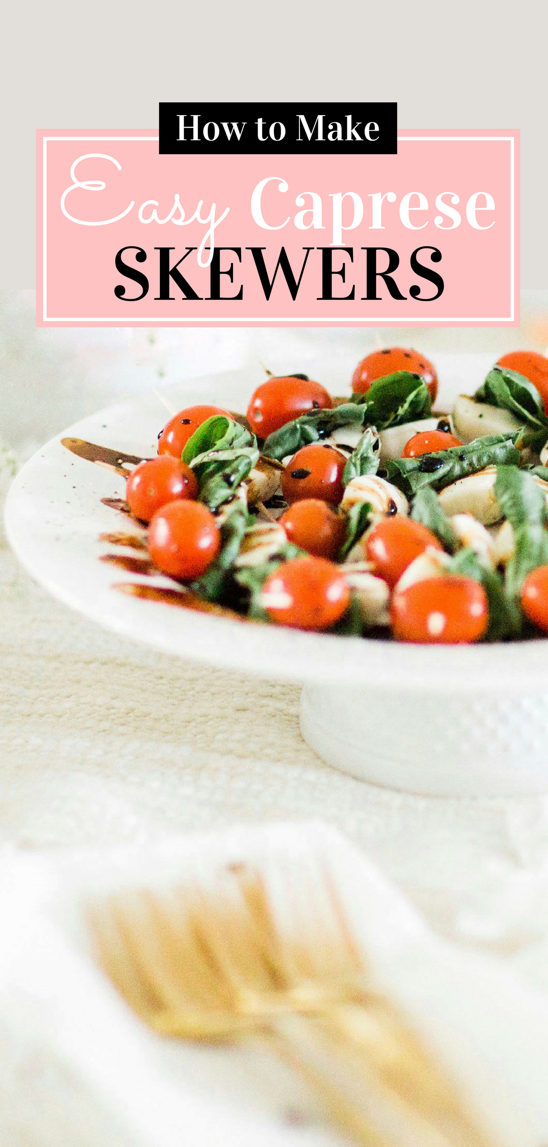 Need a super simple appetizer for your next party? These caprese skewers with balsamic drizzle couldn't be easier to put together, taste absolutely delicious, and are always a perfect crowd-pleaser! Click through for the recipe. | glitterinc.com | @glitterinc - Caprese Skewers With Balsamic Glaze featured by popular North Carolina food blogger, Glitter, Inc.