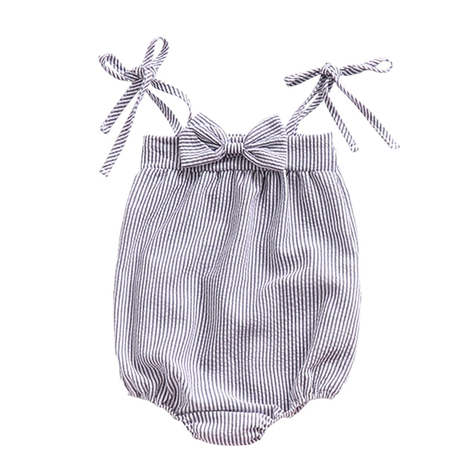 Ding Dong Baby Girl Summer Striped Romper - Adorable Amazon Outfits for Baby Girls and Toddlers by popular North Carolina style blogger, Glitter, Inc.