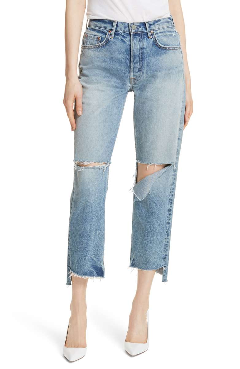 GRLFRND Helena Ripped Rigid High Waist Straight Jeans - Weekly Finds by popular North Carolina style blogger Glitter, Inc.