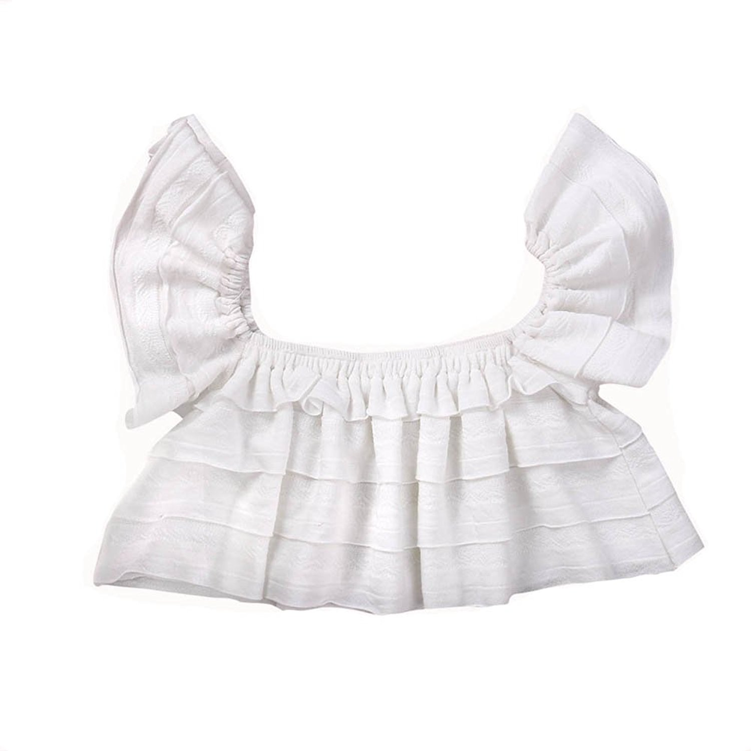 Baby Girls Off Shoulder Boho Blouse Top + Bandage Headband Outfit Set