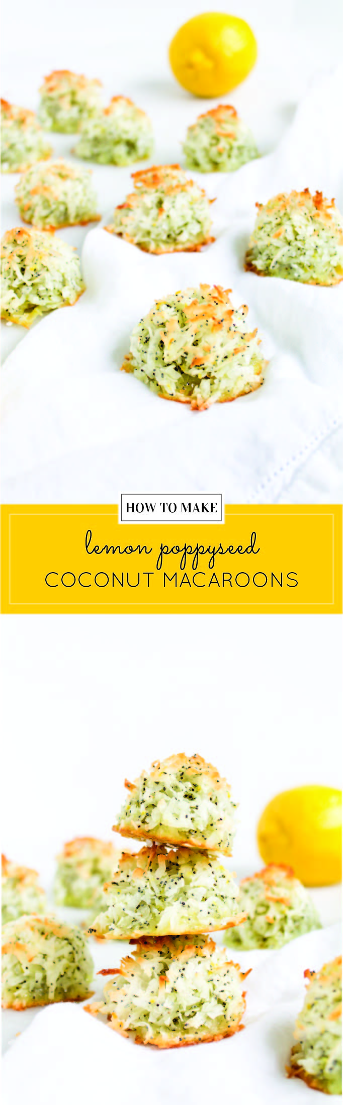 Coconut macaroons have the perfect balance of textures - crunchy on the outside, but moist and chewy on the inside. This lemon poppy seed version of the classic flourless cookie is packed with fresh, zesty citrus flavor for a wonderful spring or Passover treat! Click through for the recipe. | glitterinc.com | @glitterinc - Lemon Poppyseed Coconut Macaroons Recipe by popular North Carolina foodie blog Glitter, Inc.