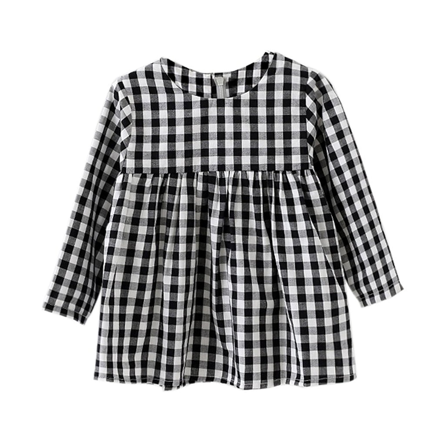 Little Kids and Baby Girls Long Sleeve Dress in White and Black Plaid