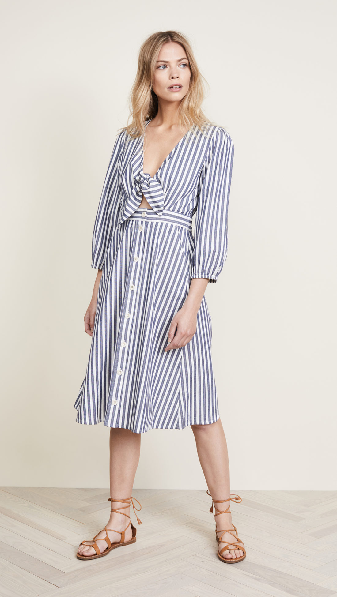 Madewell Shimmer Stripe Cutout Midi Dress  - Shopbop sale recommendations by popular North Carolina fashion blogger Glitter, Inc.