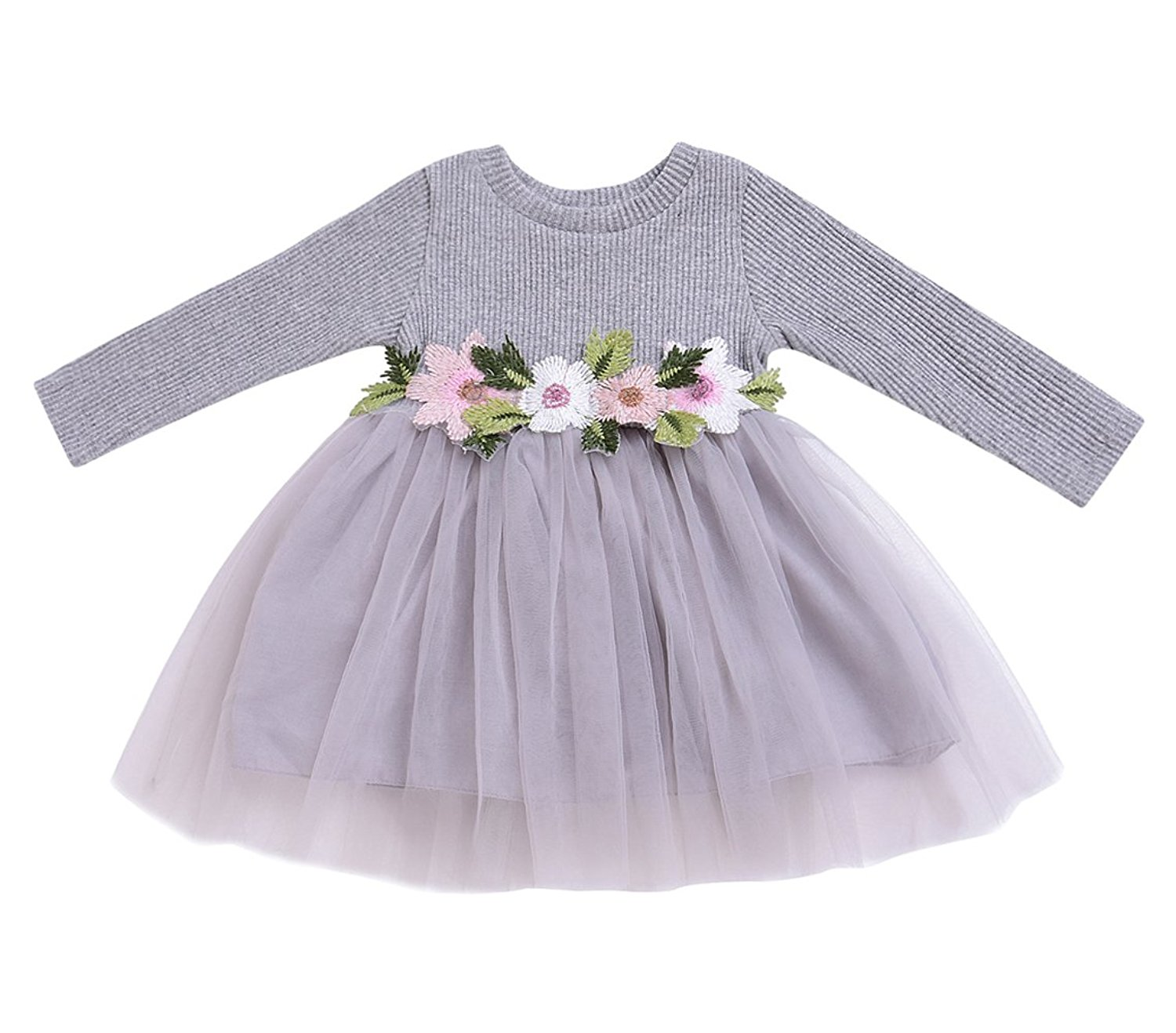 Mini Honey Baby + Toddler Girls Long Sleeve Floral Tulle Tutu Dress