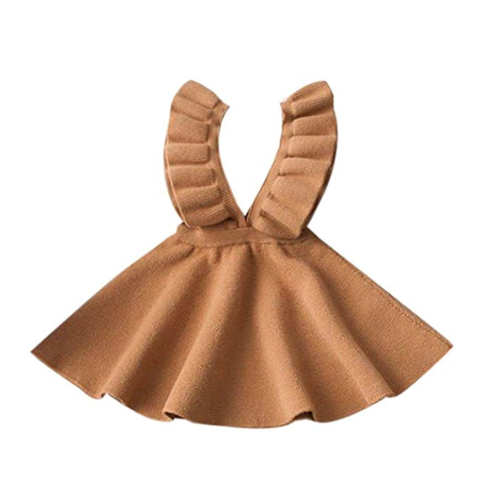 Noustyle Toddler Girl Kids Baby Skrits Overalls Knit Solid Sleeveless Sweater Ruffle Tutu Dress in Coffee