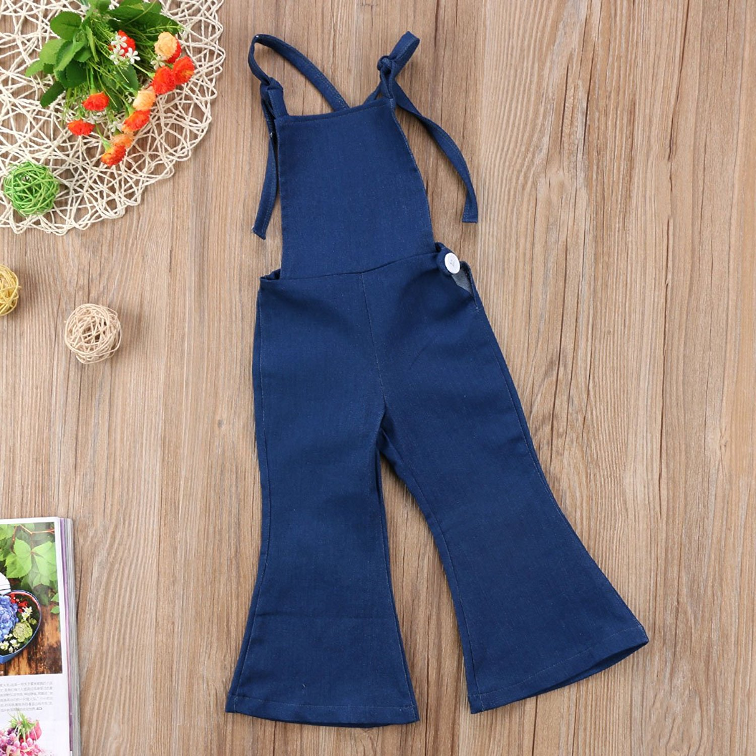 Pudcoco Baby Girls + Little Kids Suspender Overall Flared Denim Jeans Jumpsuit with Bell Leg - Adorable Amazon Outfits for Baby Girls and Toddlers by popular North Carolina style blogger, Glitter, Inc.
