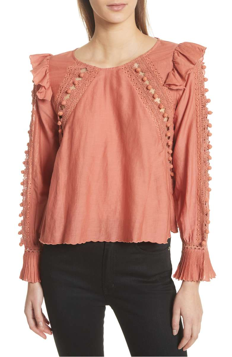 SEA Esther Crochet Pompom Trim Top - Weekly Finds by popular North Carolina style blogger Glitter, Inc.