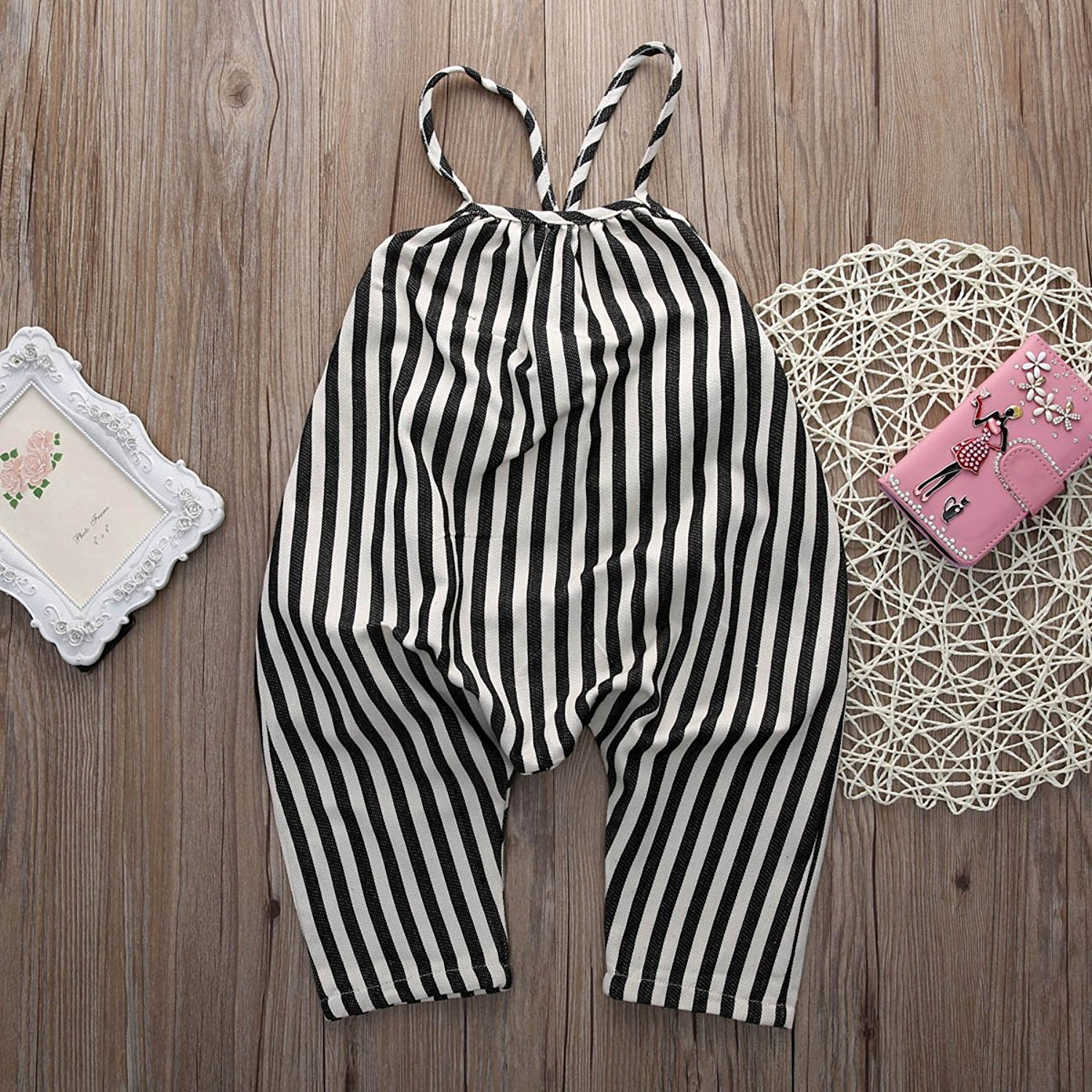 Striped Harem Baby Romper