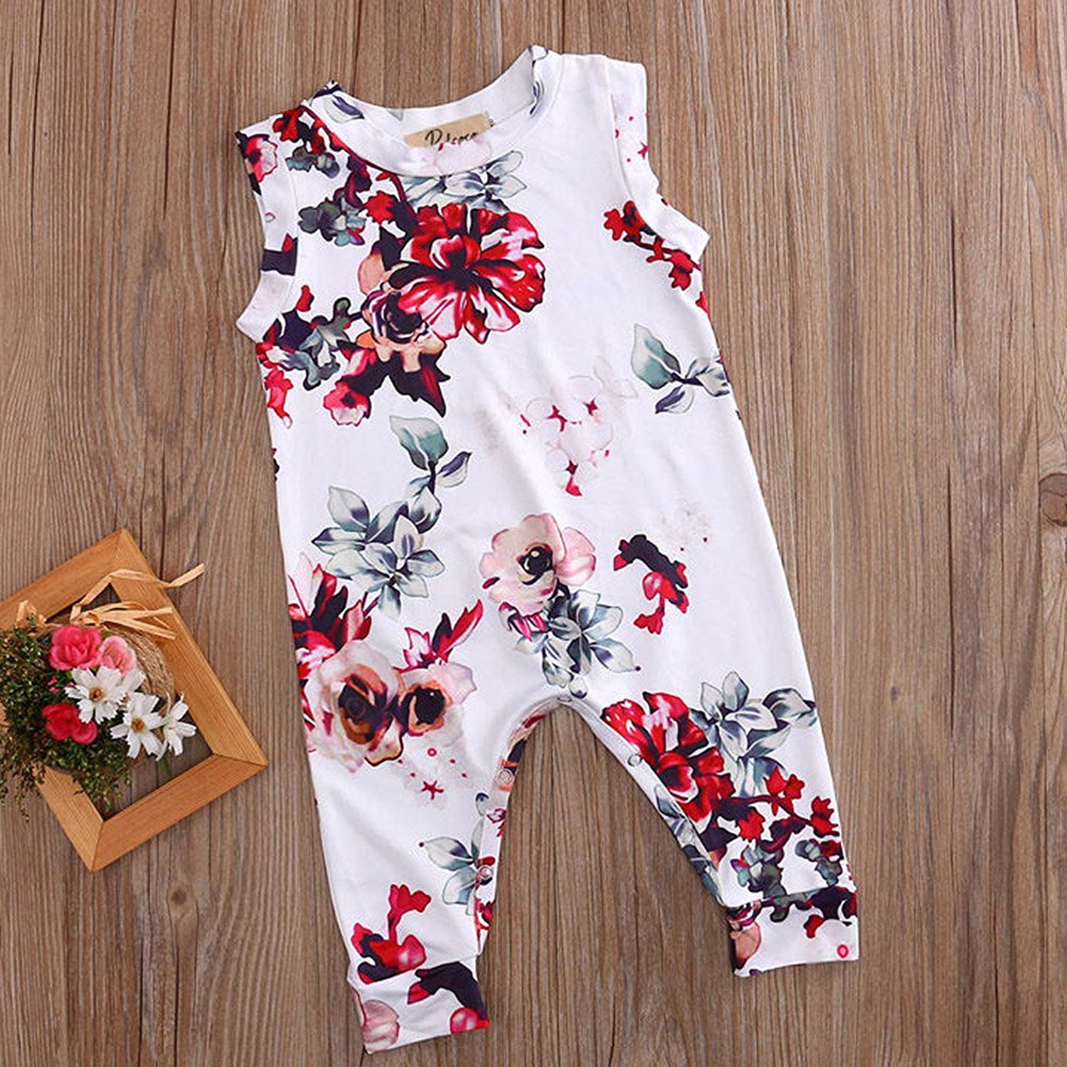 Toddler and Baby Girls Flower Print Long Romper - Adorable Amazon Outfits for Baby Girls and Toddlers by popular North Carolina style blogger, Glitter, Inc.