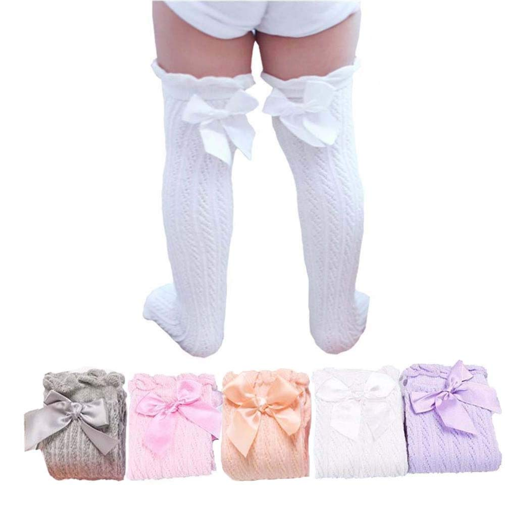 5 Pairs Girl Lace Bows Princess leg Warmers Cotton Over Calf Knee High Socks