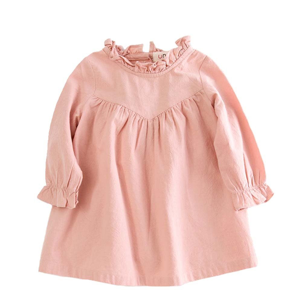 VIYOO Children Cotton Linen Long Sleeve Girl Dresses Casual Fashion Summer Toddler Girl Dress
