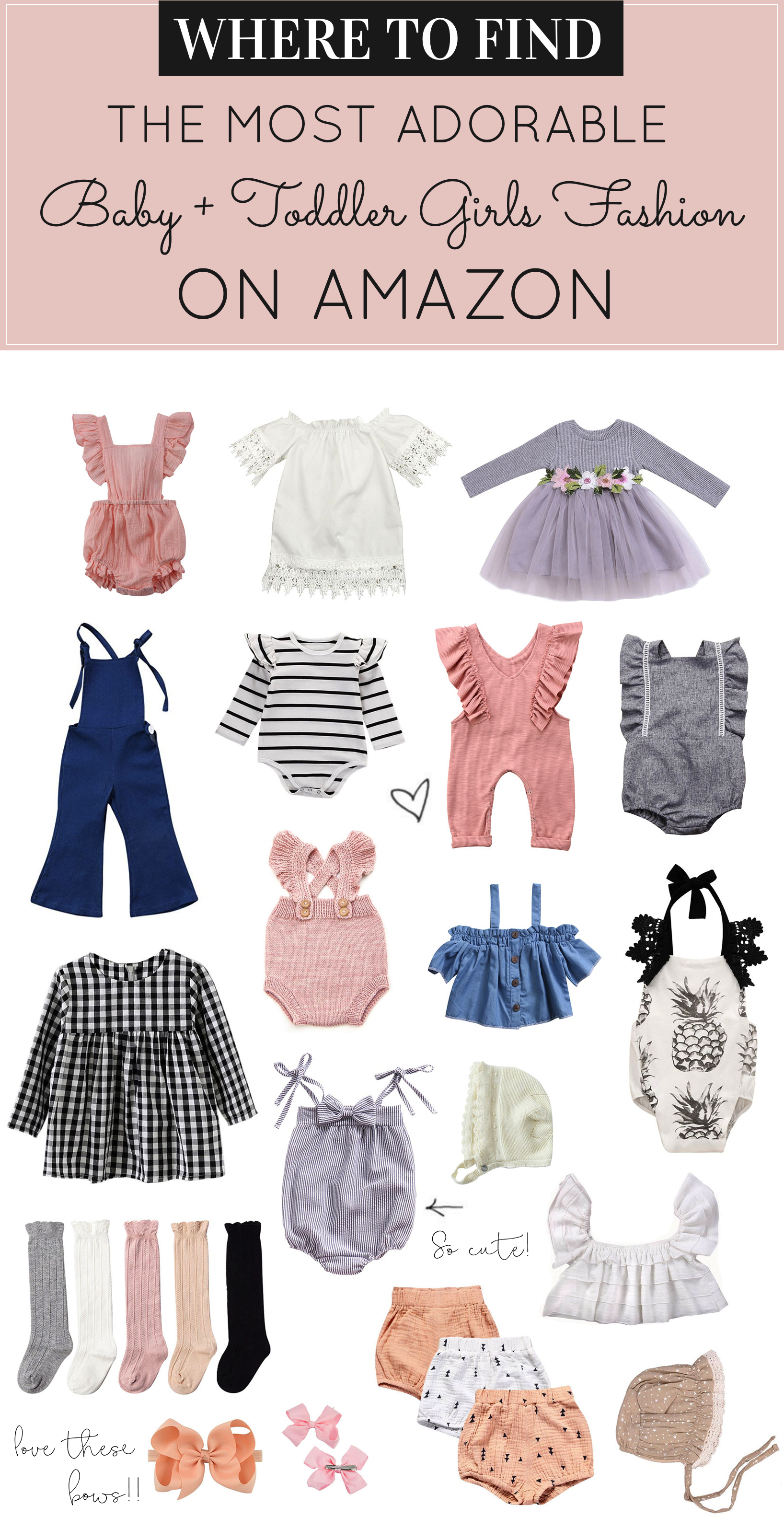 Searching for adorable baby girl and toddler outfits and accessories on a budget? Did you know Amazon has some of the cutest affordable kids clothes out there? I'm rounding up 30 of my current favorite sweet-as-sugar baby girl and toddler outfits and accessories that I think you'll love! | glitterinc.com | @glitterinc - Adorable Amazon Outfits for Baby Girls and Toddlers by popular North Carolina style blogger, Glitter, Inc.