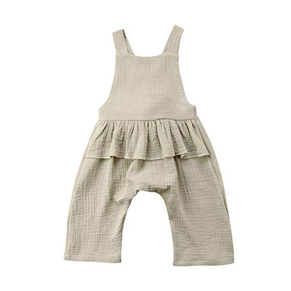 Wiwiane Baby Girl Sleeveless Ruffle Romper Jumpsuit Backless Playsuit Outfit Overalls
