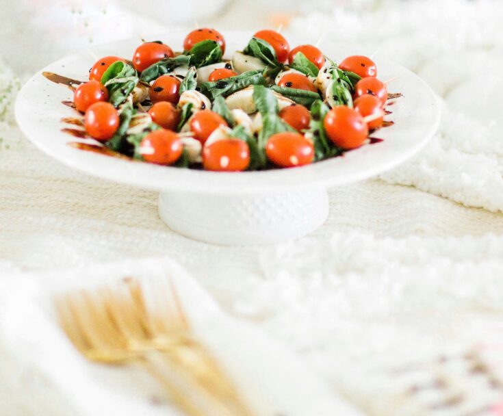 Caprese Skewers With Balsamic Glaze featured by popular North Carolina food blogger, Glitter, Inc.